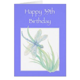 Cartão 39th natureza feliz da libélula da aguarela do