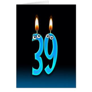 Cartão 39th Velas do aniversário