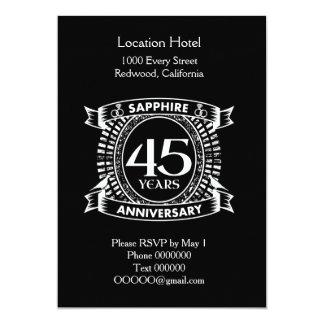 Cartão 45th crista da safira do aniversário de casamento