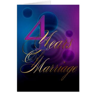 Cartão 4 anos de casamento (cartão do aniversário)