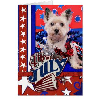 Cartão 4 de julho - monte de pedras Terrier - Roxy