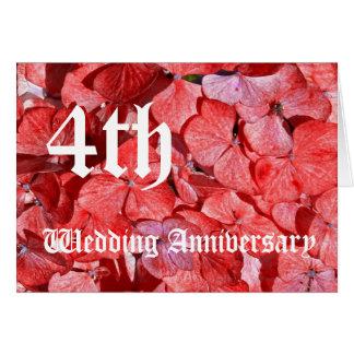 Cartão 4o aniversário de casamento - Hydranga