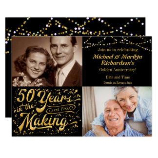 Cartão 50 anos no fazer então & agora aniversário