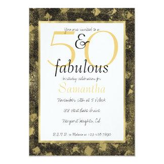 Cartão 50 e o partido Glam fabuloso do preto do ouro