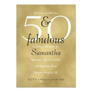 Cartão 50 e ouro Glam fabuloso
