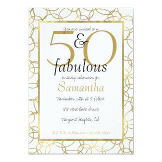Cartão 50 e partido branco dos círculos do ouro Glam