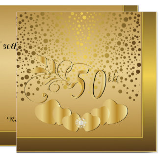Cartão 50th Aniversário de casamento dourado