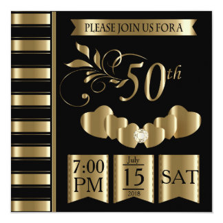 Cartão 50th aniversário de casamento dourado feliz