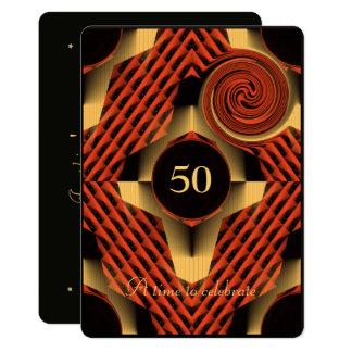 Cartão 50th aniversário vermelho e amarelo