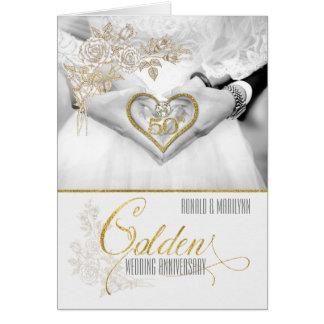 Cartão 50th Anos do ouro do aniversário de casamento
