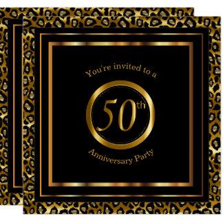 Cartão 50th Anos dourados com teste padrão do leopardo