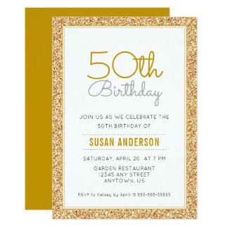 Cartão 50th Brilho do ouro do falso do aniversário