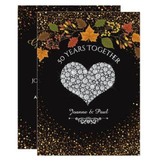 Cartão 50th Coração da celebração da queda do aniversário