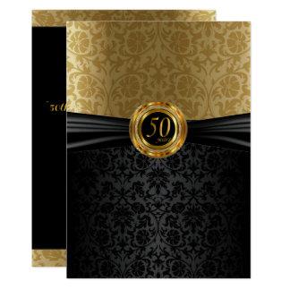 Cartão 50th Design do damasco do aniversário