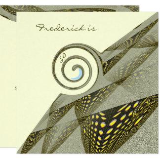 Cartão 50th Design verde & amarelo do aniversário