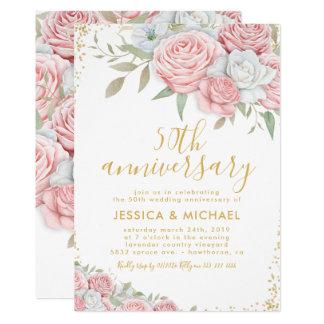 Cartão 50th Ouro do rosa do aniversário de casamento