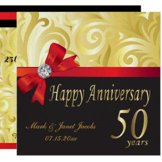 Cartão 50th redemoinhos felizes do ouro do aniversário |