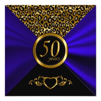 Cartão 50th Teste padrão do leopardo do aniversário de