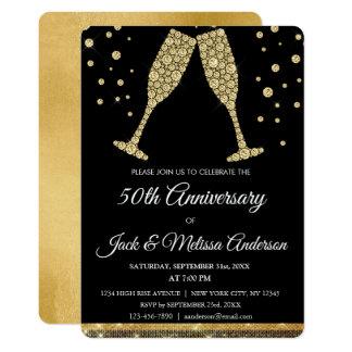 Cartão 50th Vidros de Champagne da festa de aniversário
