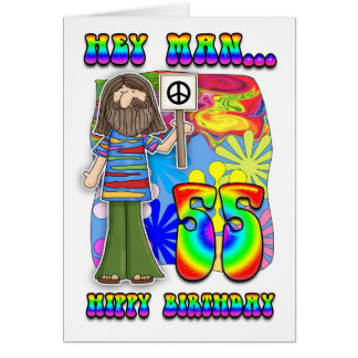 Cartão 55th aniversário Groovy - aniversário do hippy
