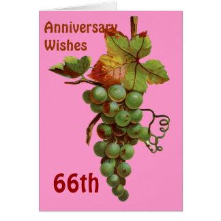 Cartão 66th Desejos do aniversário, customisable