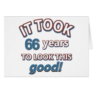Cartão 66th design do aniversário do ano