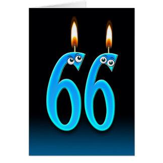 Cartão 66th Velas do aniversário