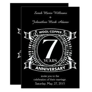 Cartão 7o cobre de lãs do aniversário de casamento