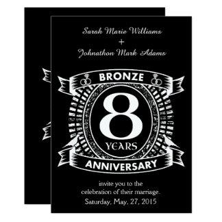 Cartão 8o bronze do aniversário de casamento