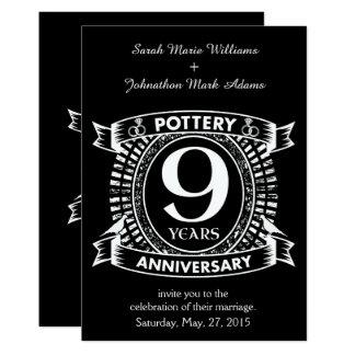 Cartão 9a cerâmica do aniversário de casamento