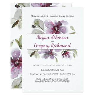 Cartão A aguarela da ameixa floresce a festa de noivado