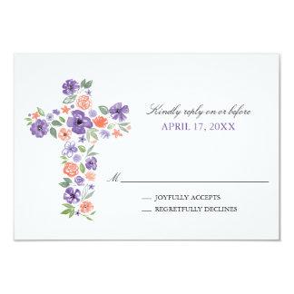 Cartão A aguarela roxa floresce o primeiro comunhão da