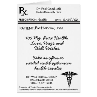 Cartão A almofada da prescrição de RX obtem bem