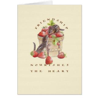 Cartão A amizade nutre o coração