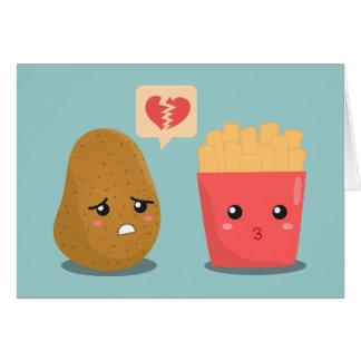 Cartão A batata é coração quebrado sobre batatas fritas