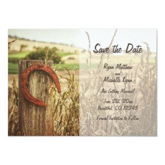 Cartão A cerca e a ferradura rústicas do país salvar a