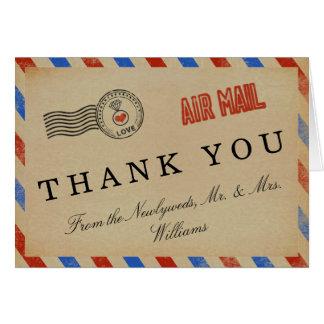 Cartão A coleção do casamento do correio aéreo do vintage