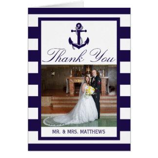 Cartão A coleção náutica do casamento da listra do