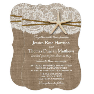 Cartão A coleção rústica do casamento de praia da estrela
