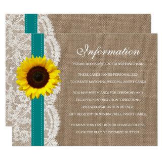 Cartão A coleção rústica do casamento do girassol -