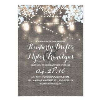 Cartão A corda ilumina o casamento rústico de