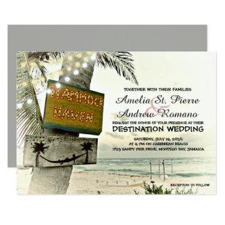 Cartão A corda nostálgica ilumina o casamento de praia do