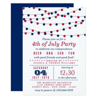 Cartão A corda vermelha, branca & azul ilumina a 4o do