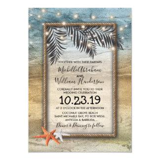 Cartão A estrela do mar tropical rústica da praia ilumina
