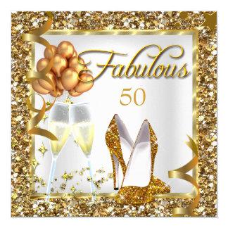 Cartão A festa de aniversário fabulosa do ouro de 50