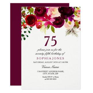 Cartão A festa de aniversário floral de Borgonha Boho