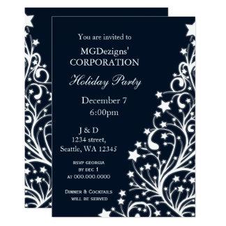 Cartão a festa natalícia incorporada festiva azul convida
