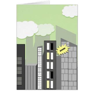 Cartão A fusão caçoa a cidade super