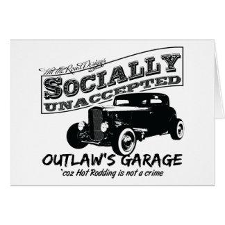 Cartão A garagem do fora da lei. Hot rod social