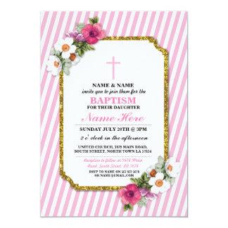 Cartão A madeira floral da menina do baptismo do batismo